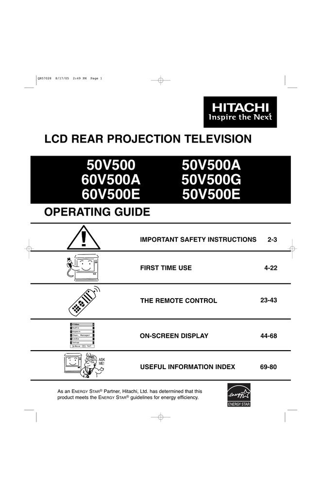 Hitachi 50V500E Projection Television User Manual | manualzz com