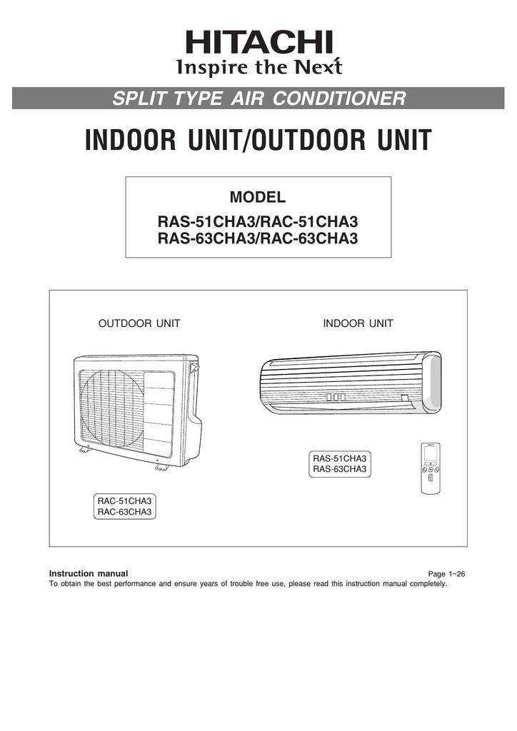 Hitachi RAS-51CHA3 Air Conditioner User Manual | manualzz com