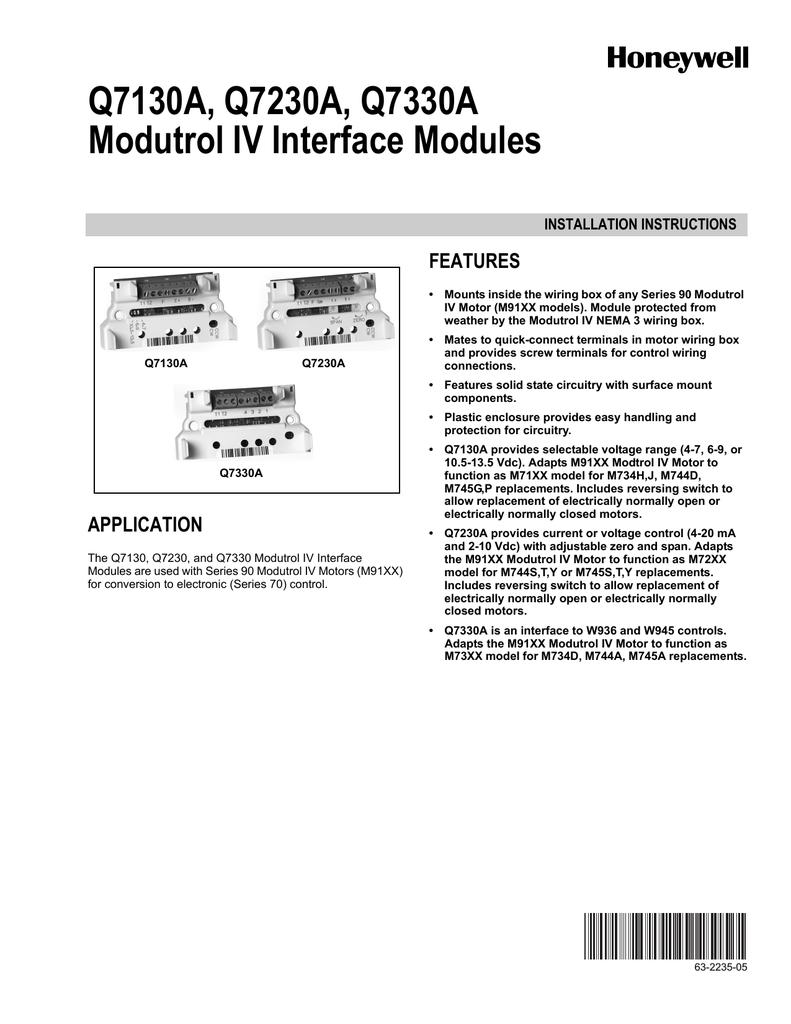 honeywell q7130a network card user manual