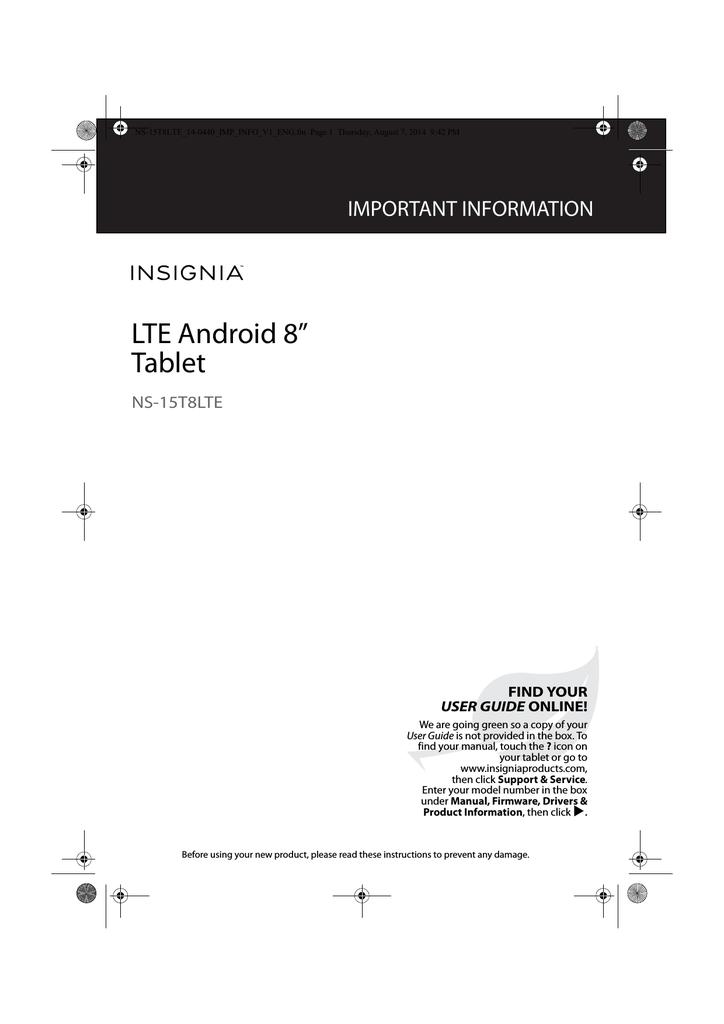 Insignia NS-15T8LTE Tablet User Manual | manualzz com