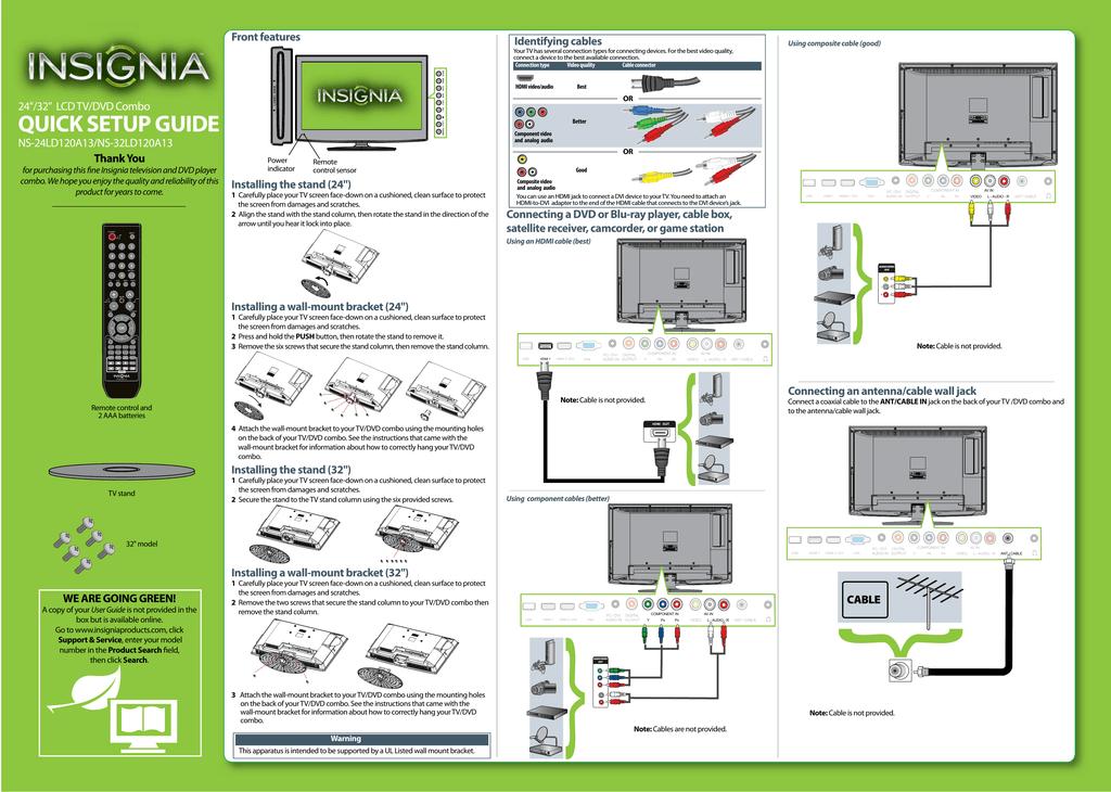 Insignia NS-24LD120A13 Flat Panel Television User Manual