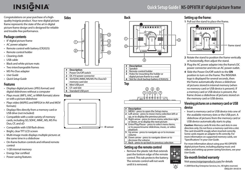 Insignia NS- DPF0712G Digital Photo Frame User Manual