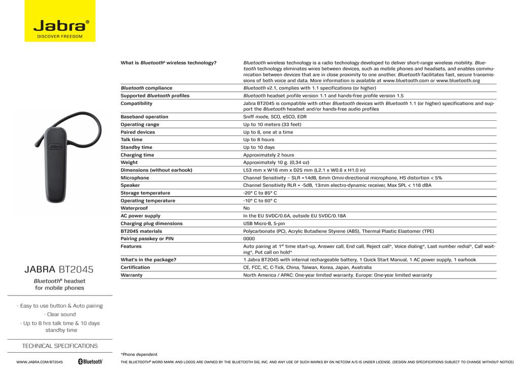 Jabra Bt2045 Bluetooth Headset User Manual Manualzz