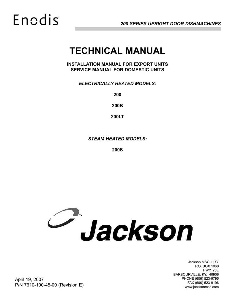 Jackson 200B Dishwasher User Manual | manualzz.com on