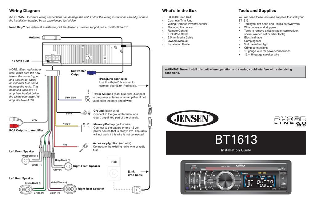 Jensen BT1613 Car Stereo System User Manual | Manualzzmanualzz
