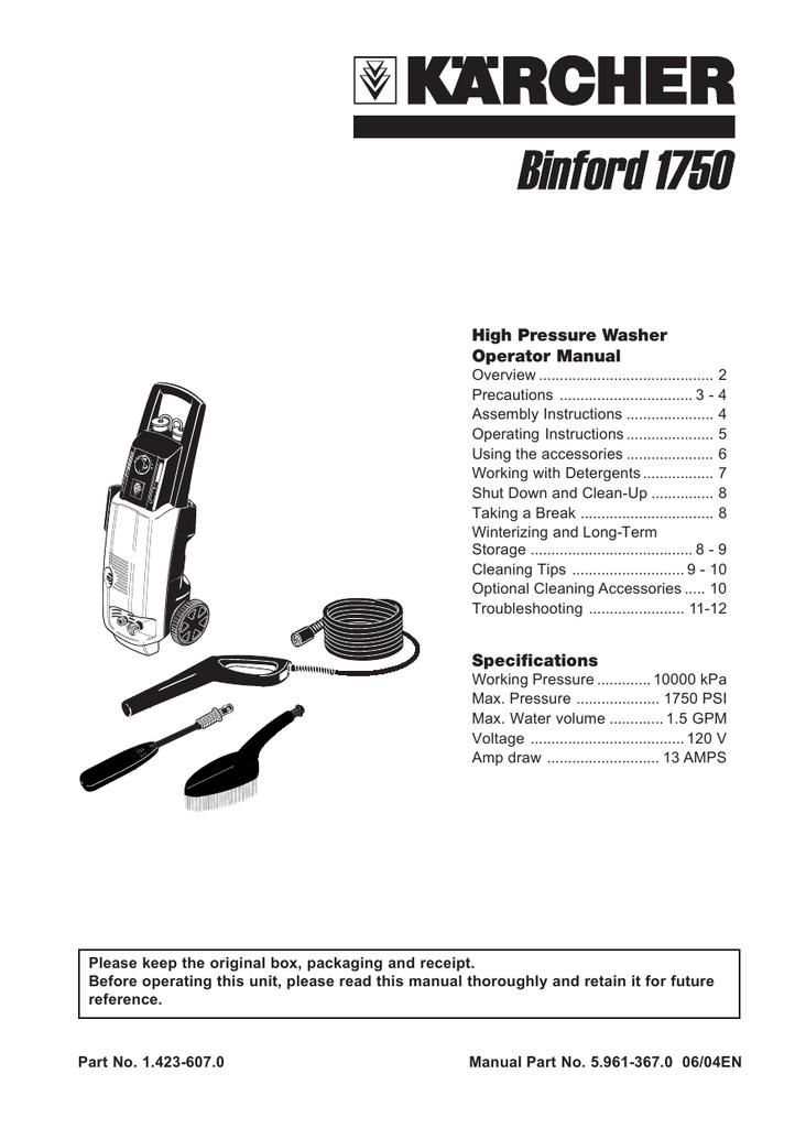 Karcher 1750 Pressure Washer User Manual Manualzz