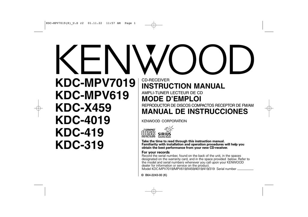 [DIAGRAM_5NL]  Kenwood KDC-4019 Car Stereo System User Manual | Manualzz | Kenwood Kdc 419 Wiring Diagram Stereo |  | manualzz