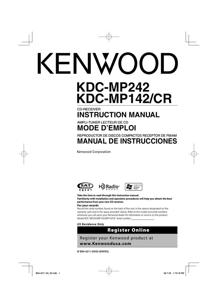 Kenwood Kdc Mp142 Car Video System User Manual Manualzz