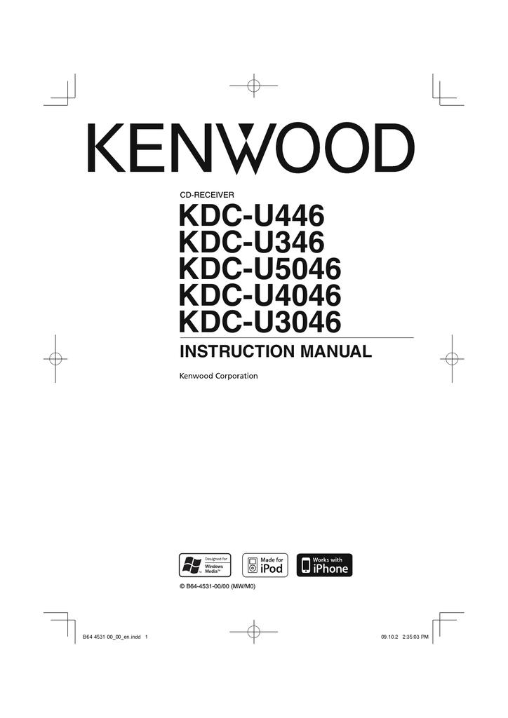 Kenwood Kdc U346 Cd Player User Manual Manualzz