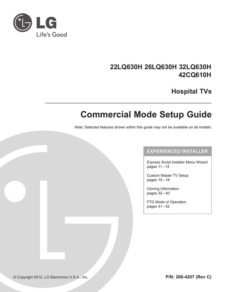 LG Electronics 26LQ630H CRT Television User Manual