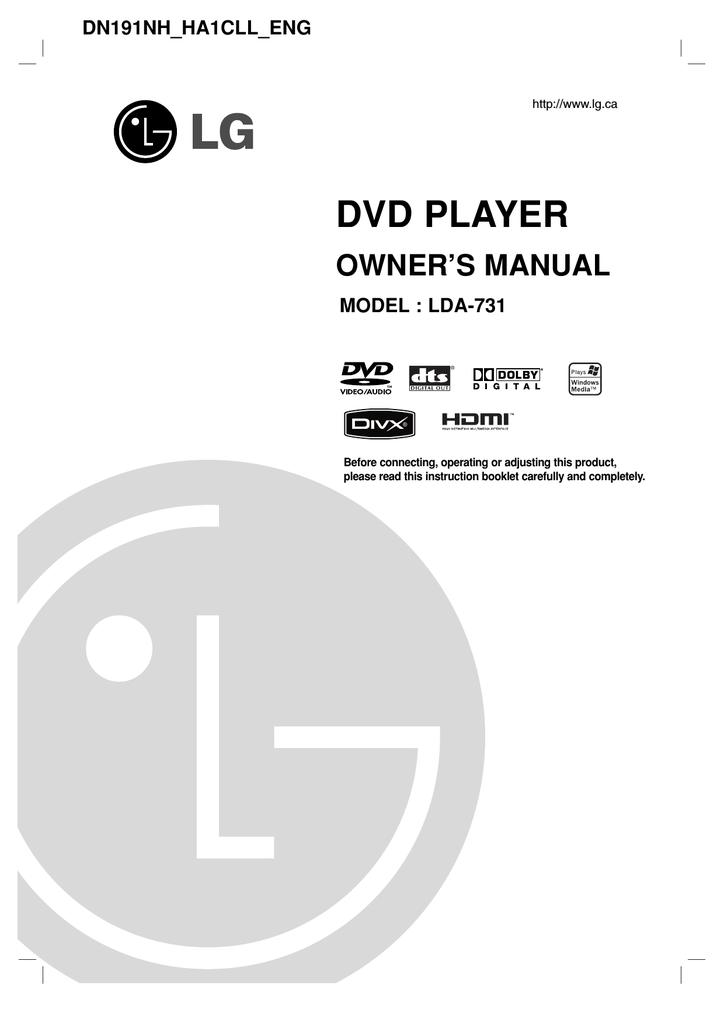 Lg Electronics Lda 731 Dvd Player User Manual Manualzz