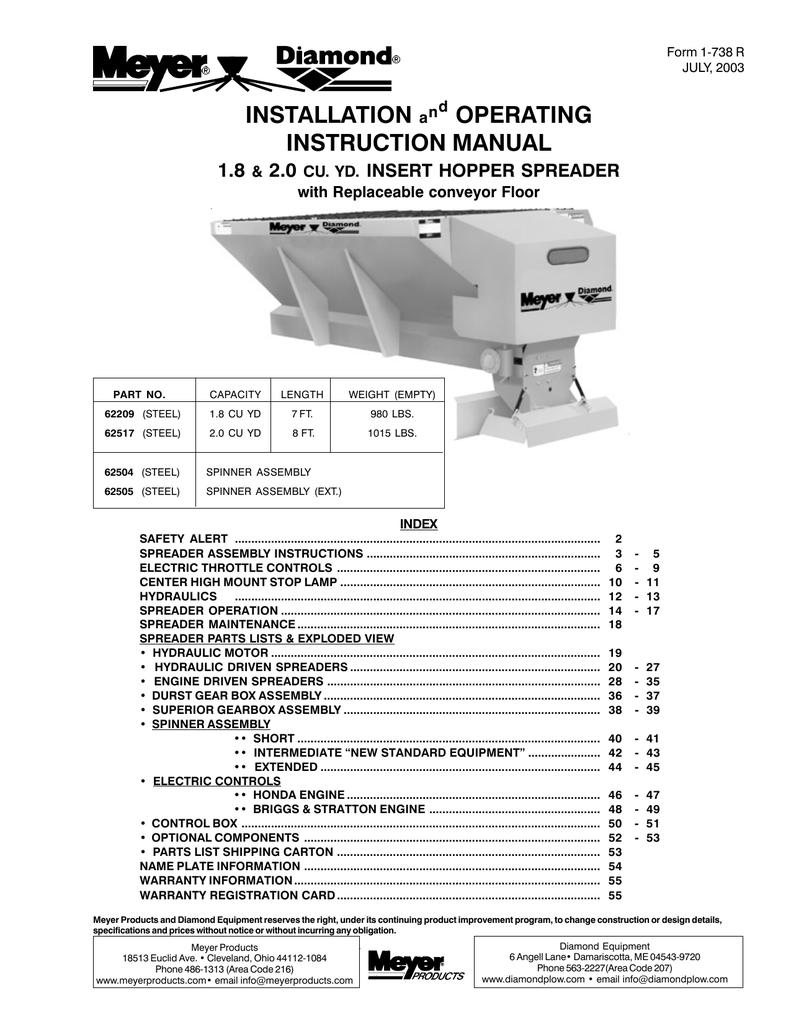 Meyer 3954 Spreader User Manual | manualzz com