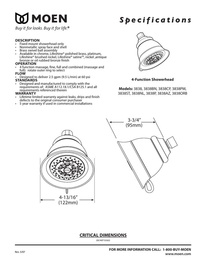 Moen 3838PM Four-Function Shower Head Platinum