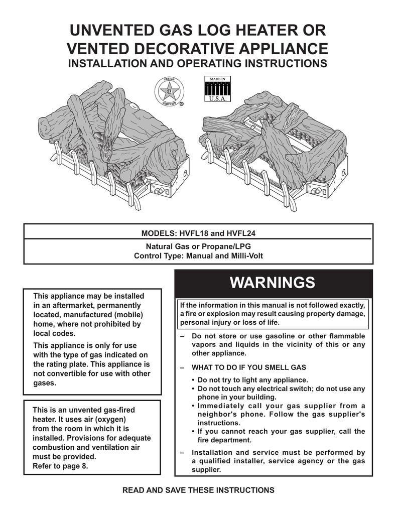 Monessen Hearth Hvfl18 Indoor Fireplace User Manual