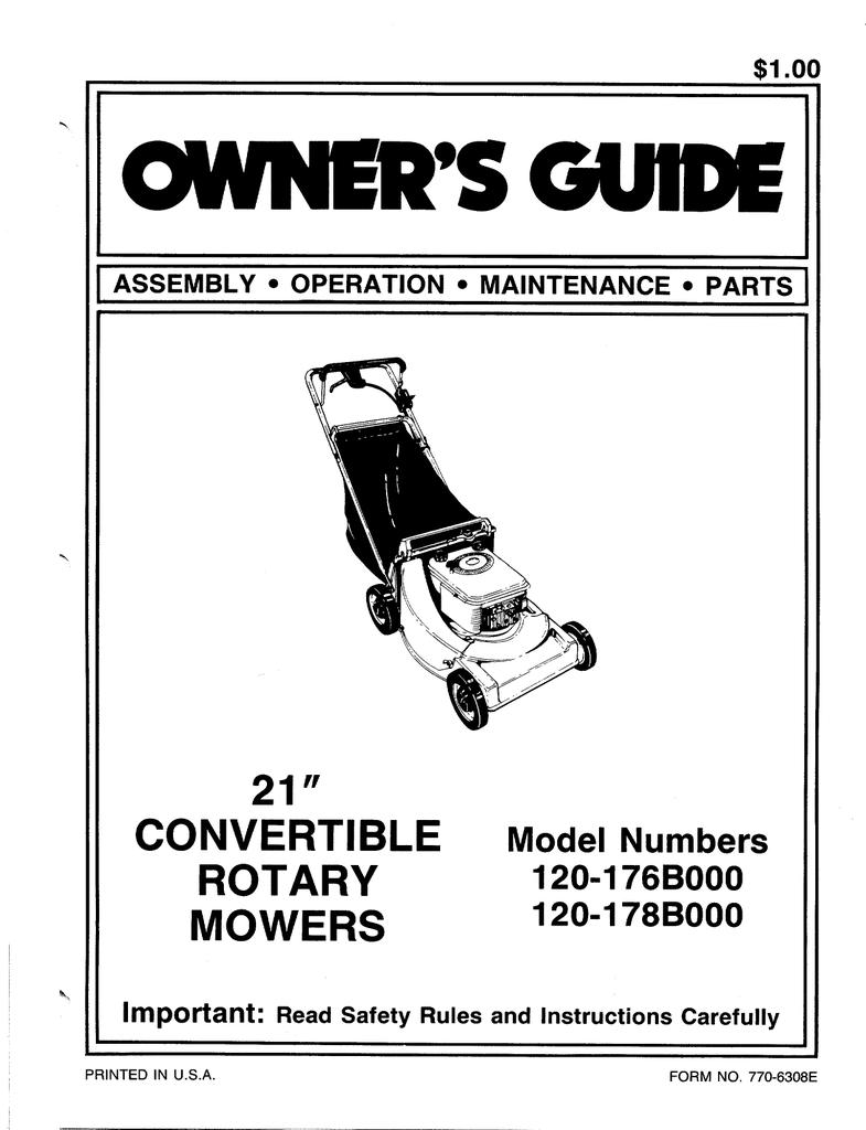 MTD 119-418R000 Lawn Mower User Manual | manualzz com
