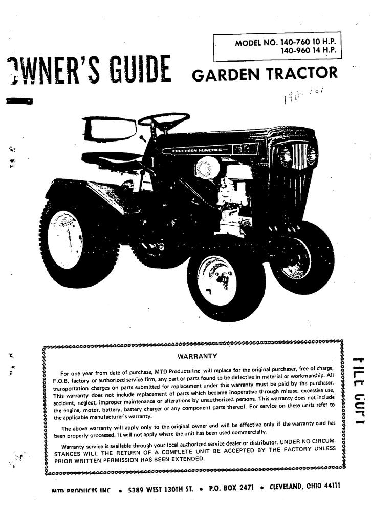 MTD 140-760 14 H P  Lawn Mower User Manual | manualzz com