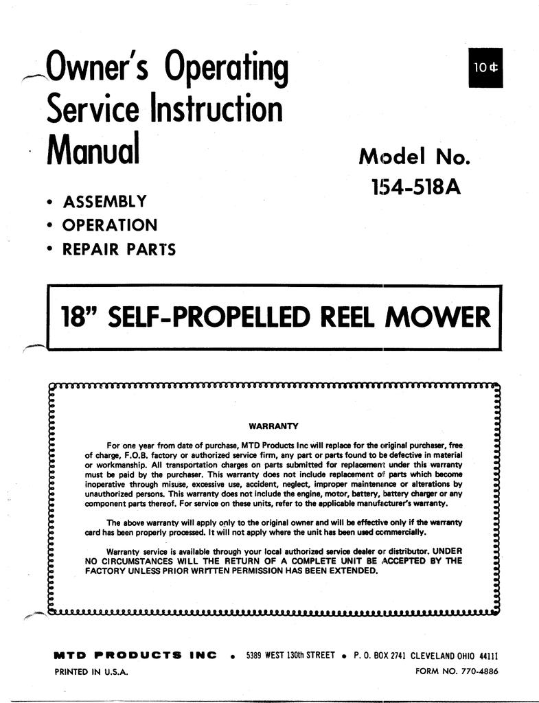 MTD 154-518A Lawn Mower User Manual | manualzz com