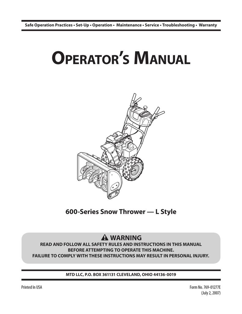 MTD 600-Series Snow Blower User Manual | manualzz com