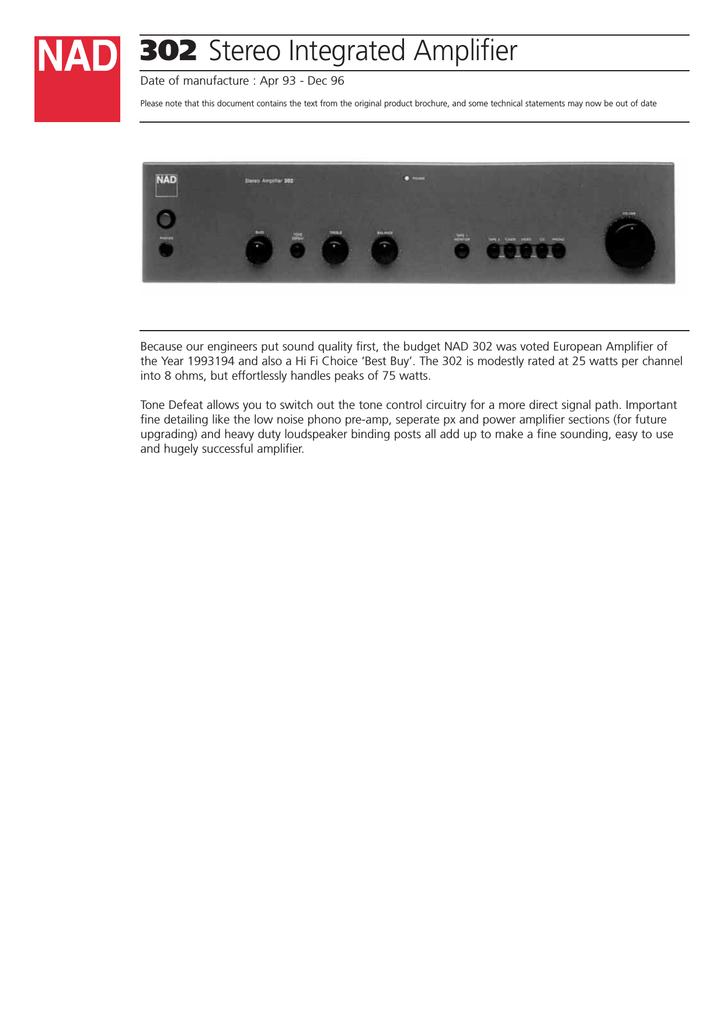 NAD 302 Stereo Amplifier User Manual   manualzz com