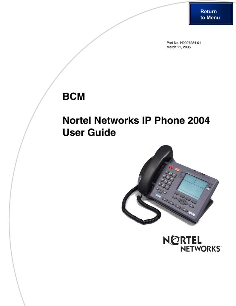 Nortel Networks 2004 IP Phone User Manual | manualzz com