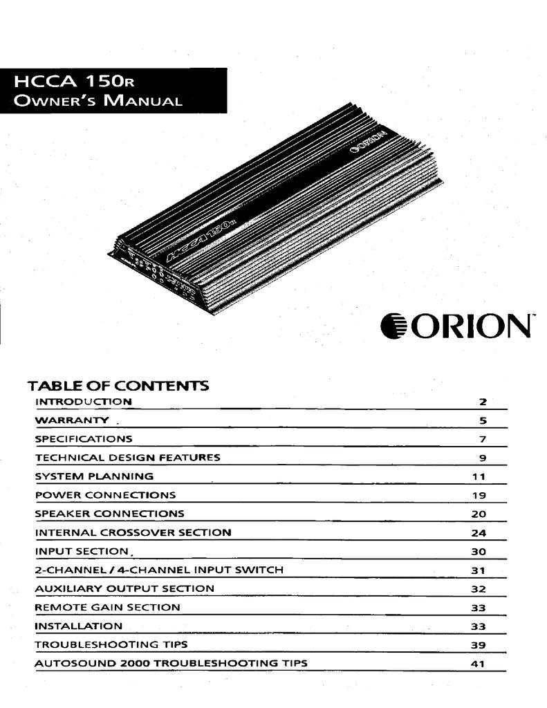 [SCHEMATICS_4US]  Orion Car Audio HCCA 150R Car Amplifier User Manual   Manualzz   Orion Hcca 15 Wiring Diagram      manualzz