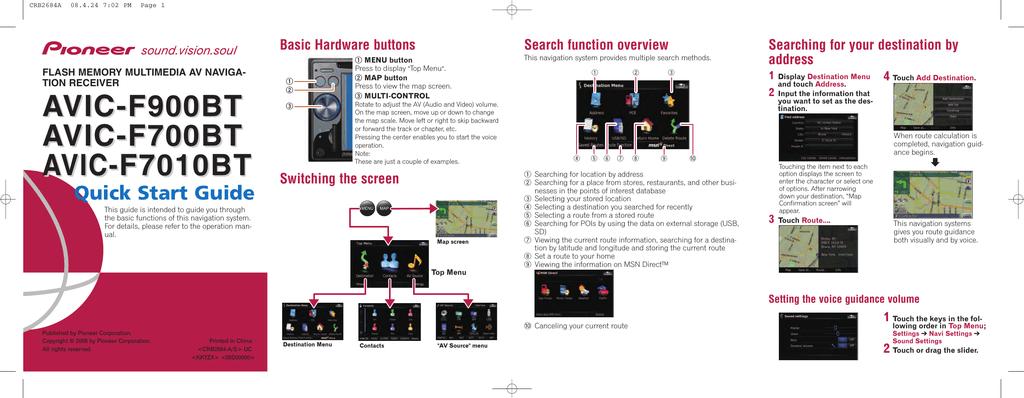 Pioneer AVIC-F700BT GPS Receiver User Manual | manualzz com
