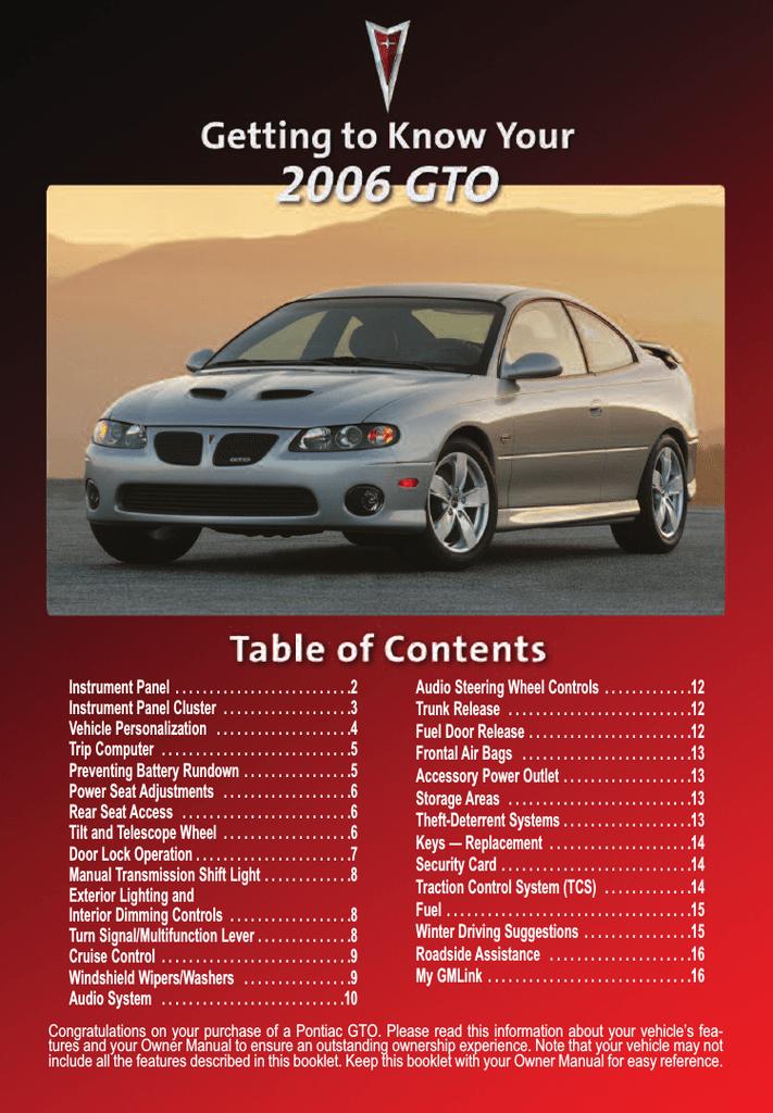 Pontiac 2006 Gto Automobile User Manual | manualzz com
