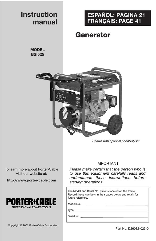 Porter Cable Bsi525 Portable Generator User Manual Manualzz