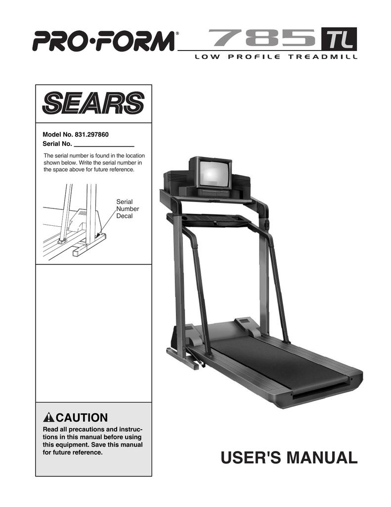 ProForm 785 TL Treadmill User Manual | manualzz com