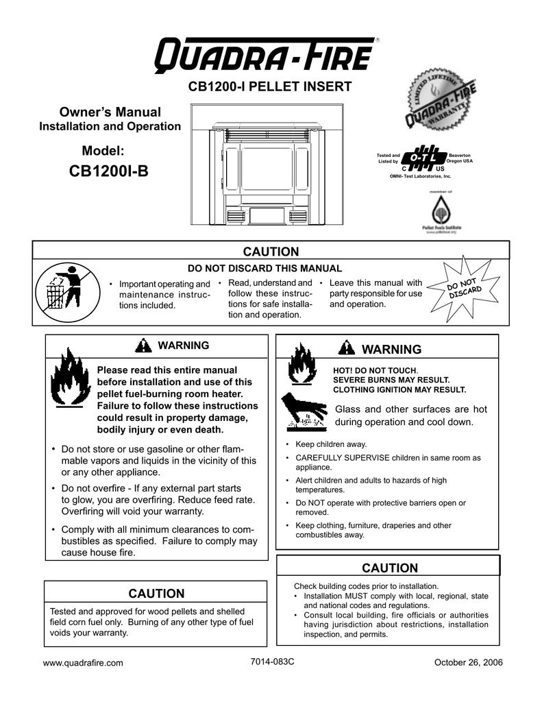 Quadra-Fire CB1200I-B Stove User Manual | manualzz.com on