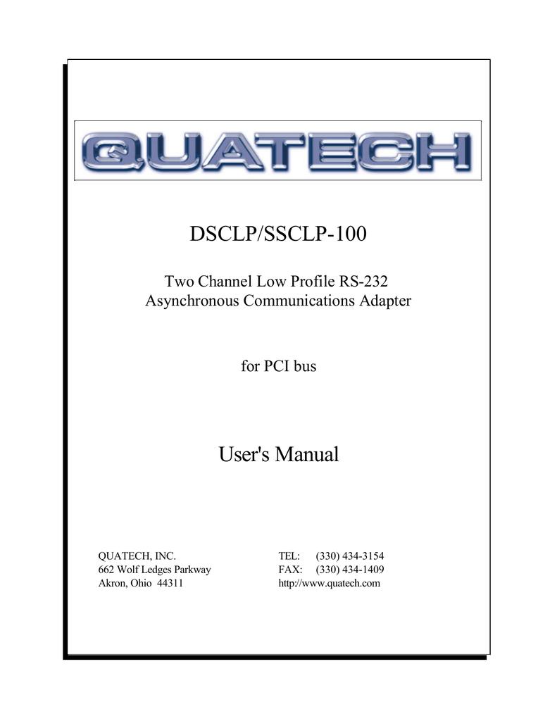 Quatech DSC-100 high speed dual serial port PCI card