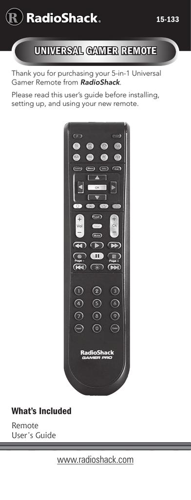 Radio Shack 15-133 Universal Remote User Manual | manualzz com
