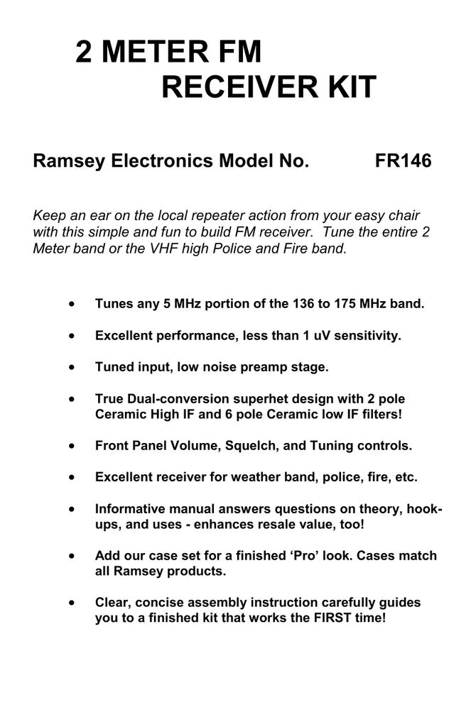 Ramsey Electronics FR146 Stereo Receiver User Manual | manualzz com