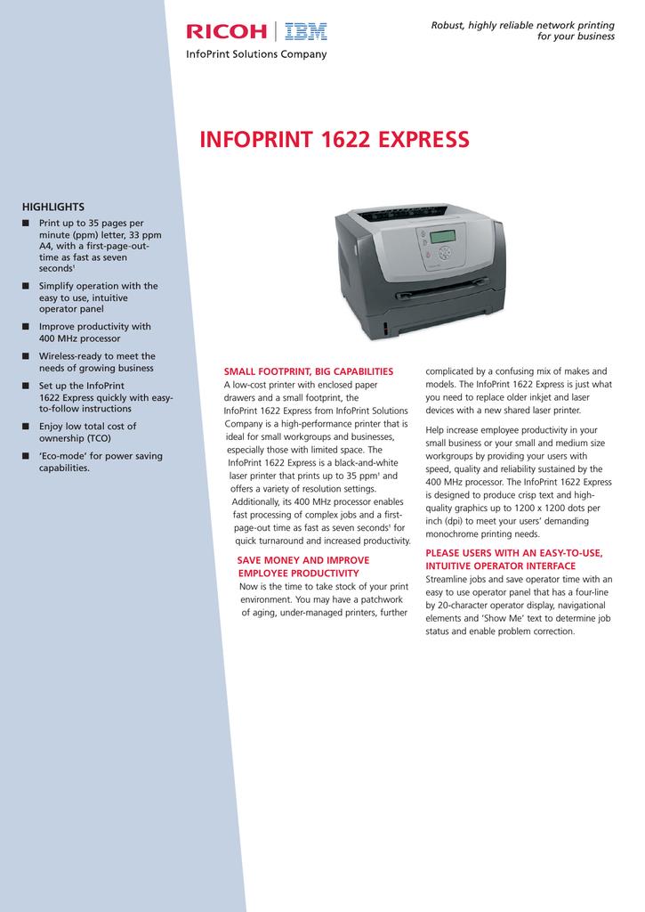 Ricoh 1622 Express Printer User Manual | manualzz com