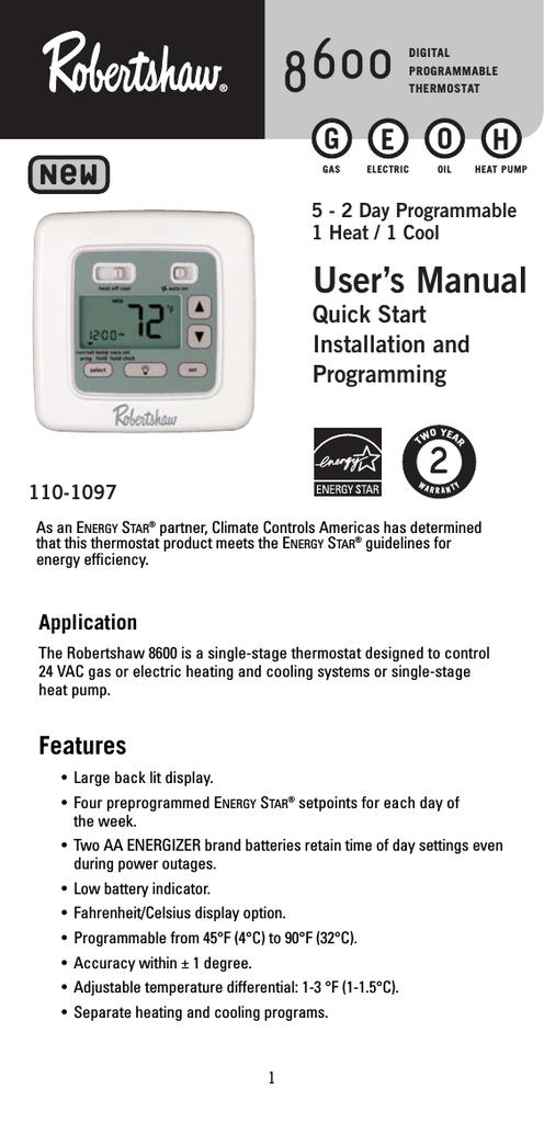 robertshaw 8600 thermostat user manual manualzz com rh manualzz com robertshaw thermostat 8600 troubleshooting Robertshaw Thermostat 9600 Instruction Manual