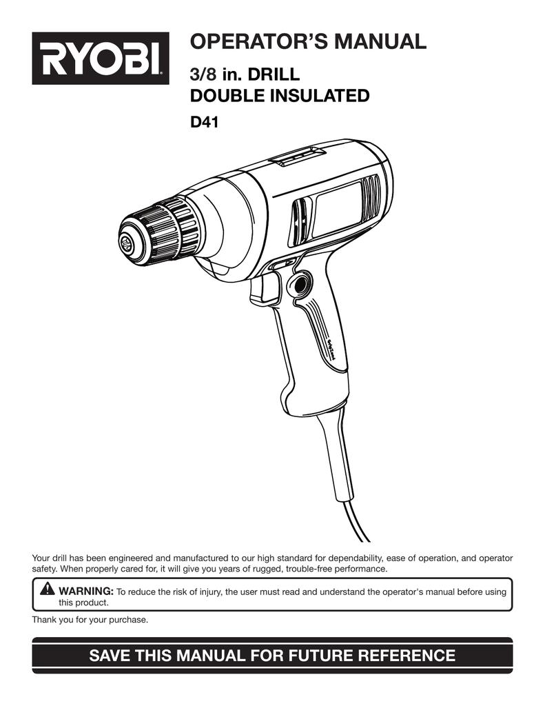 ryobi d41 drill user manual manualzz com rh manualzz com Ryobi Table Saw Manual Ryobi Router Table Manual