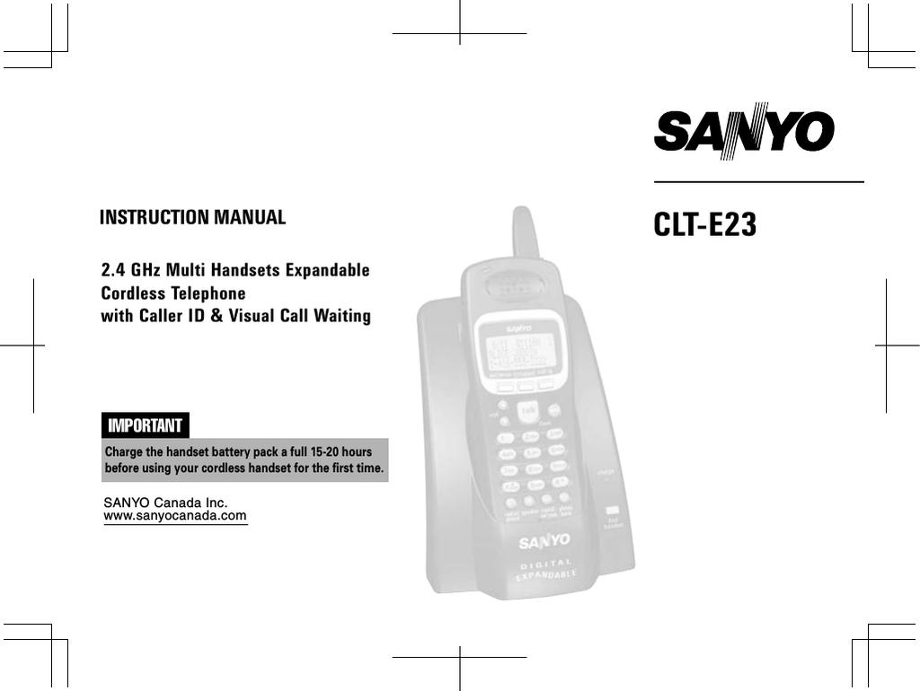 Sanyo CLT-E23 Cordless Telephone User Manual | manualzz com