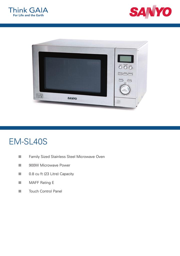 Sanyo Em Sl40s Microwave Oven User