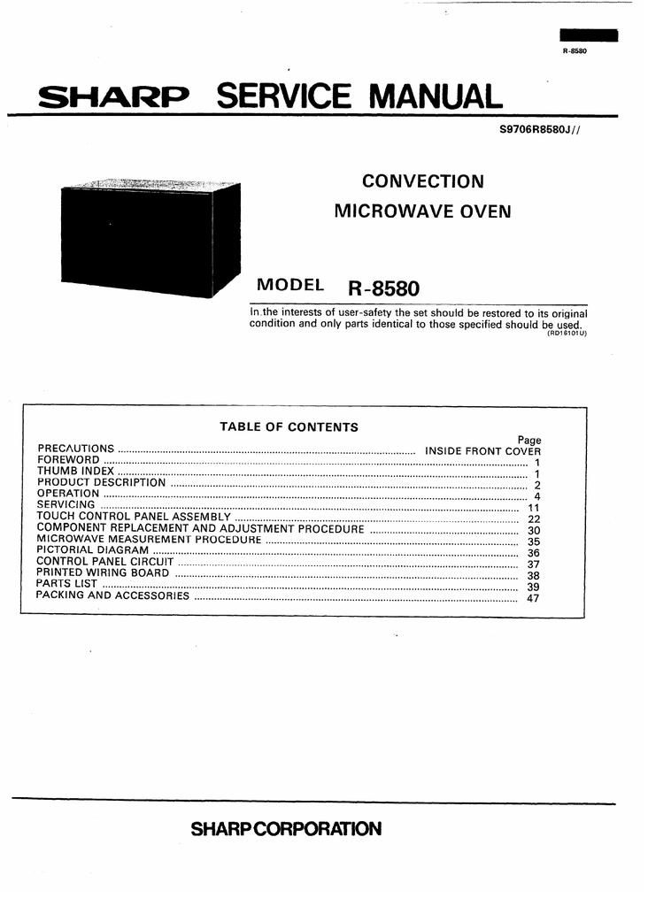 Sharp R 8580 Microwave Oven User Manual Manualzz