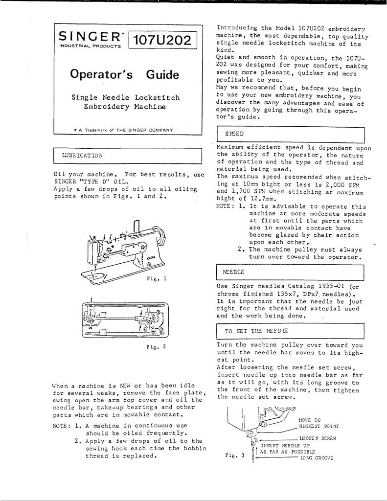 Singer 107U202 Sewing Machine User Manual | manualzz com