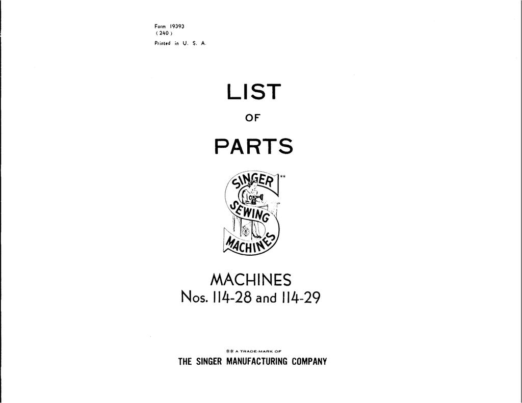 1 124614 thread nipper for SINGER 114 sewing machine