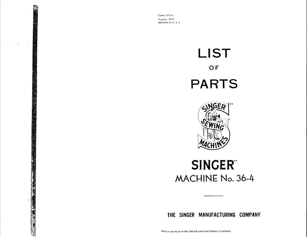 Singer 36-4 Sewing Machine User Manual   manualzz com