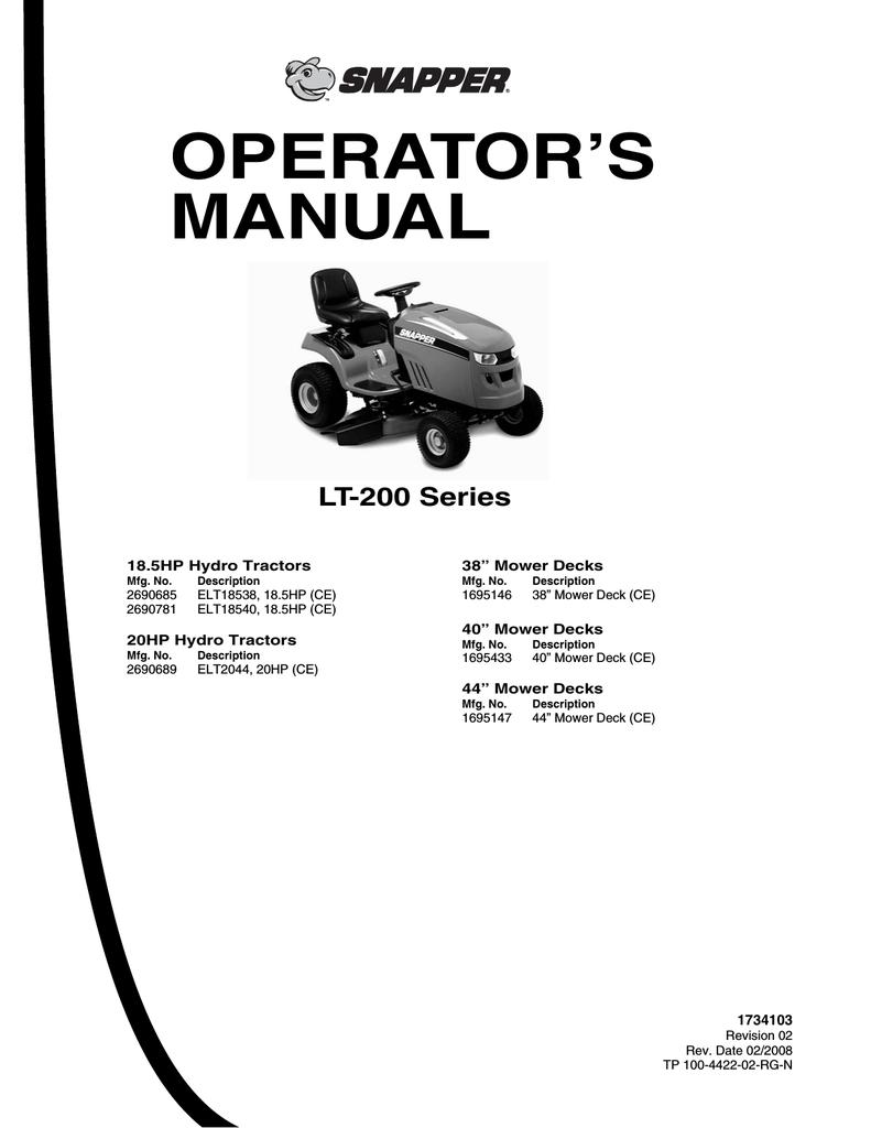 snapper lt 200 series lawn mower user manual manualzz com rh manualzz com snapper lt 200 20 hp manual snapper lt 200 owners manual