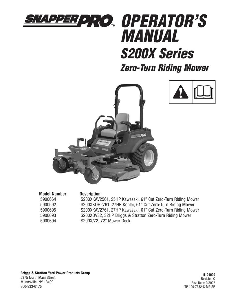 Snapper S200X/72 Lawn Mower User Manual | manualzz com