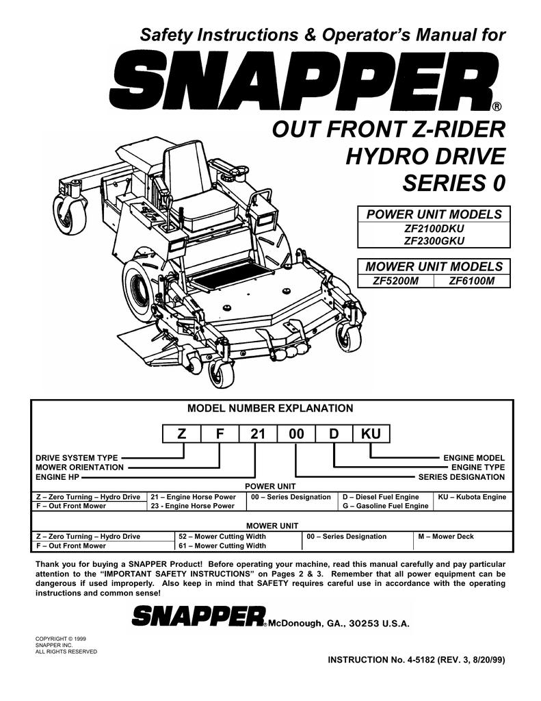 Snapper Zf2100dku Zf2300gku Zf5200m Zf6100m Lawn Mower User Wiring Harness Manual