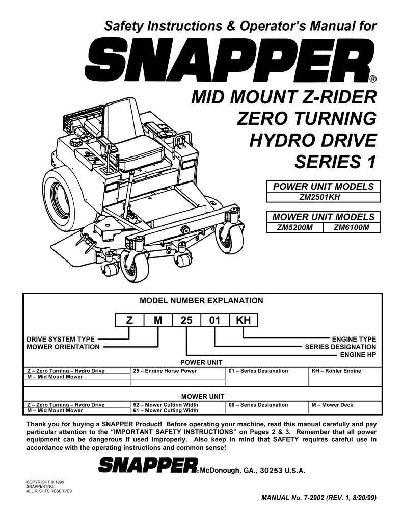 Snapper Zm2501kh Zm5201m Zm6101m Lawn Mower User Manual Wiring Harness