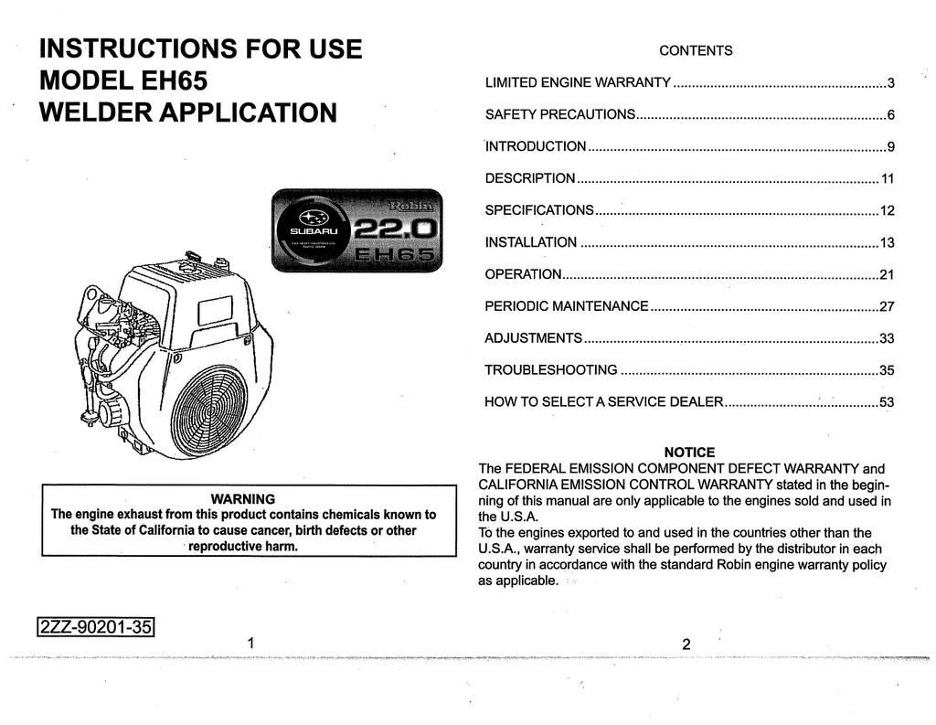 subaru 265cc engine diagram subaru robin power products eh65 portable generator user manual  subaru robin power products eh65