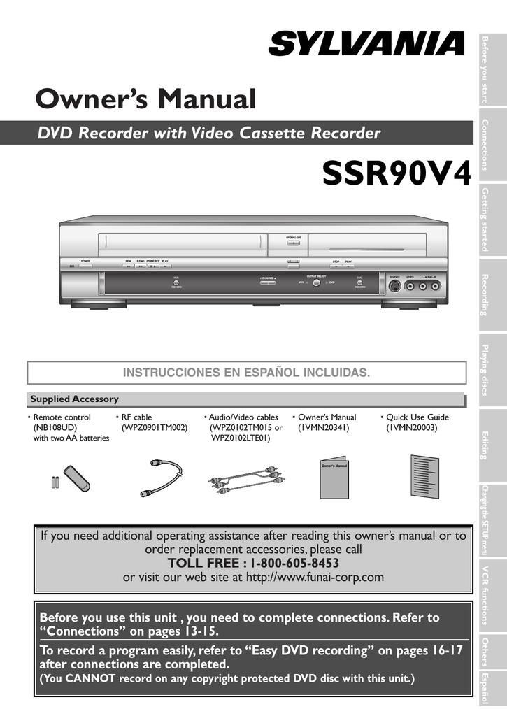 repair manual sylvania ssr90v4 dvd recorder vcr