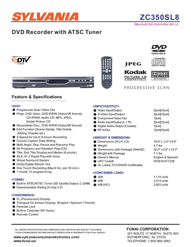 Sylvania ZC350SL8 DVD Recorder User Manual | manualzz com