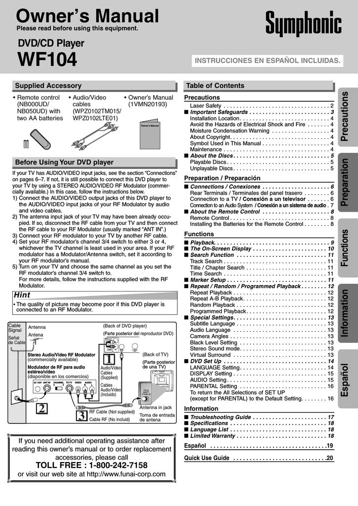 Symphonic WF104 DVD Player User Manual | manualzz com